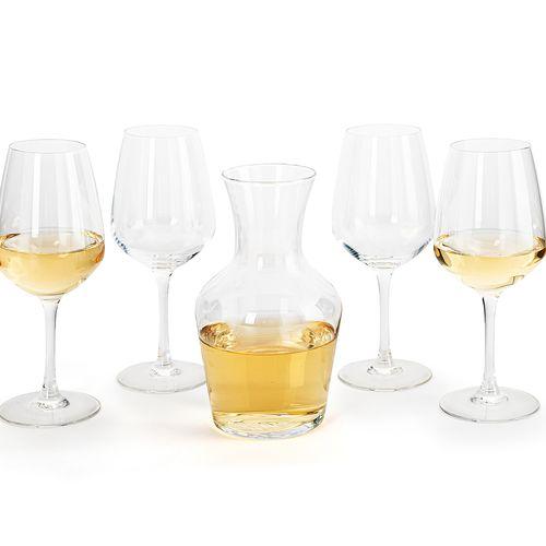 Set van 4 wijnglazen en een karaf