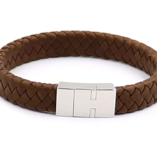 Korting Bruine leren armband