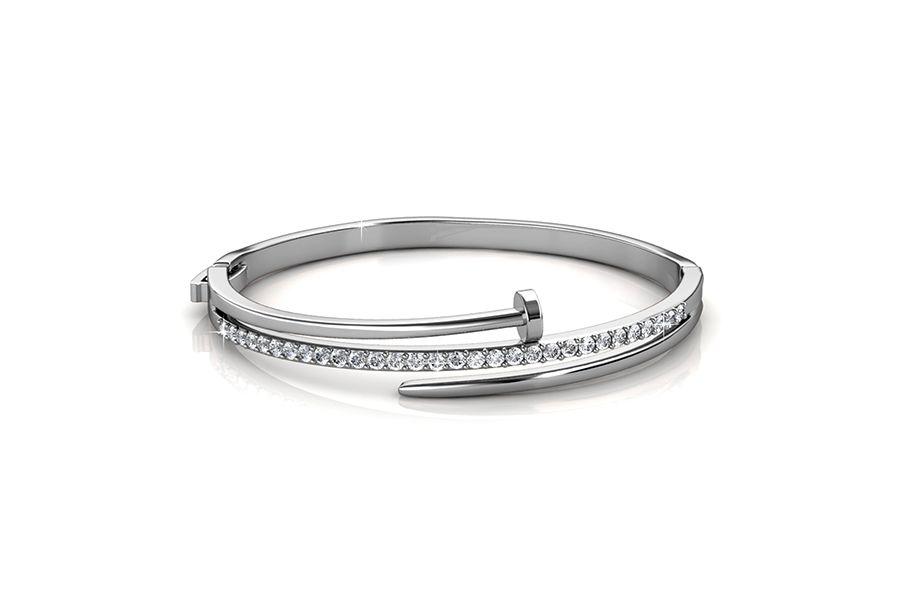 Korting Zilverkleurige armband met zirkonia s en laagje witgoud