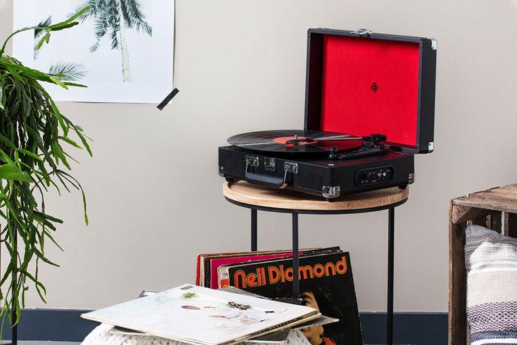 Retro platenspeler in koffer (zwart)