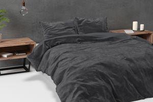 Donkergrijs velvet dekbedovertrek (240 x 220 cm)