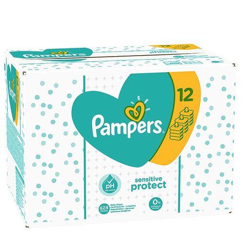 Verpakking met 624 Sensitive billendoekjes van Pampers