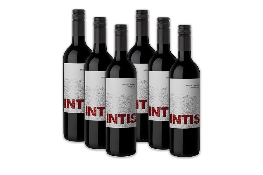 6 flessen rode wijn: Intis Merlot Malbec (750 ml)