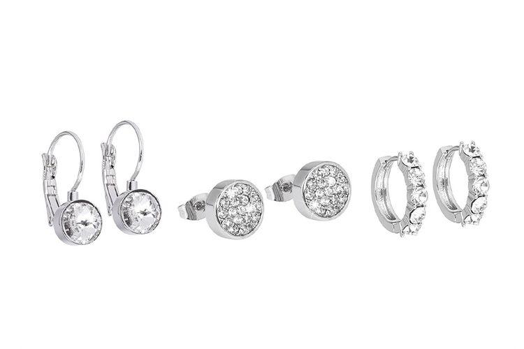 Set van 3 zilverkleurige oorbellen van Di Lusso